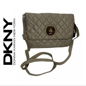 DKNY Gray Quilted Modern Lock Bag